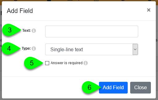 Options in the Add Field window