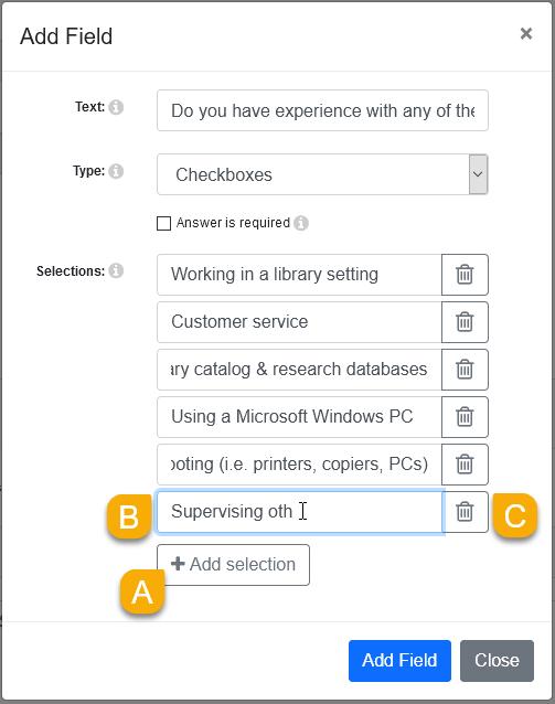 Checkbox field options in the Edit Field window