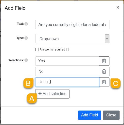 Dropdown field options in the Add Field window