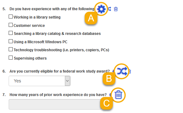 The cog, reorder, and delete icons for form fields