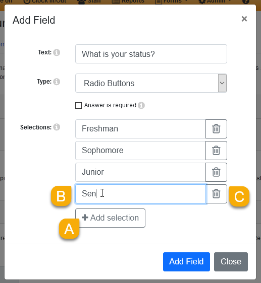 Radio button field options in the Add Field window