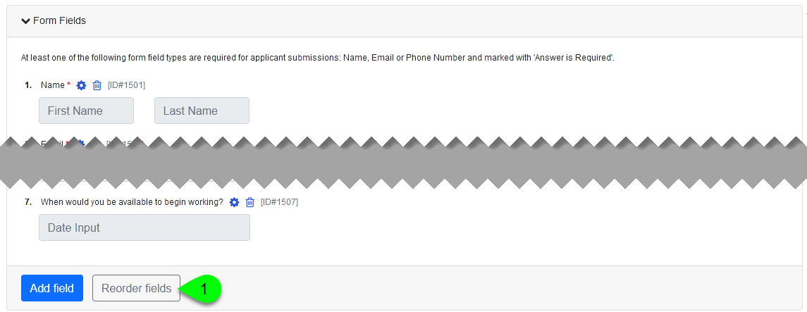 The Reorder Fields button in the Form Fields box