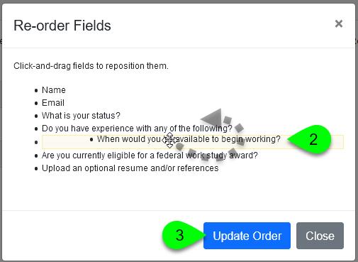 The Re-order Fields window