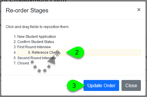 The Re-order Stages window