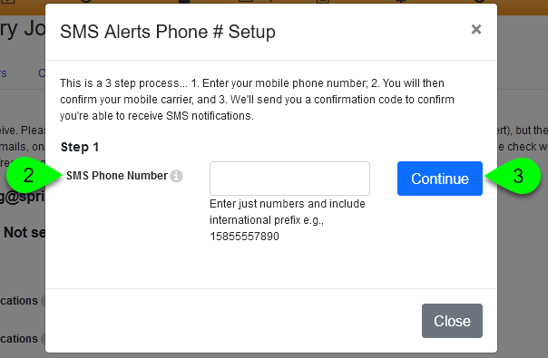 The SMS Phone Number field