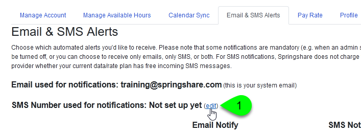 The Edit link for the SMS Number used for notifications