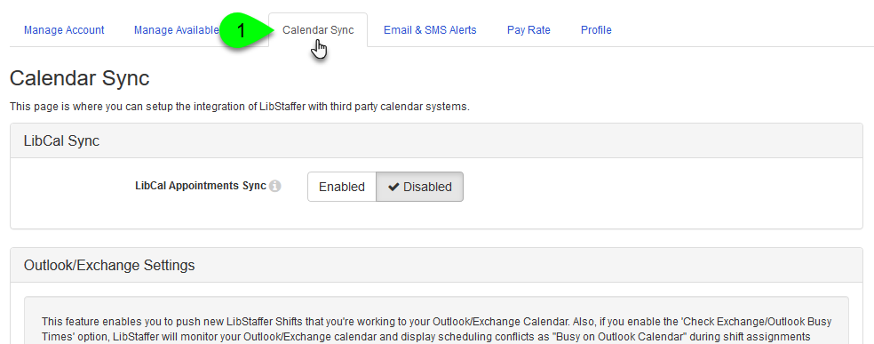 The Calendar Sync tab