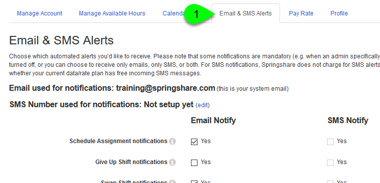The Email & SMS Alerts tab