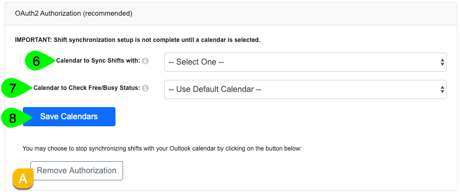 The Calendar dropdown in the OAuth2 Authorization box