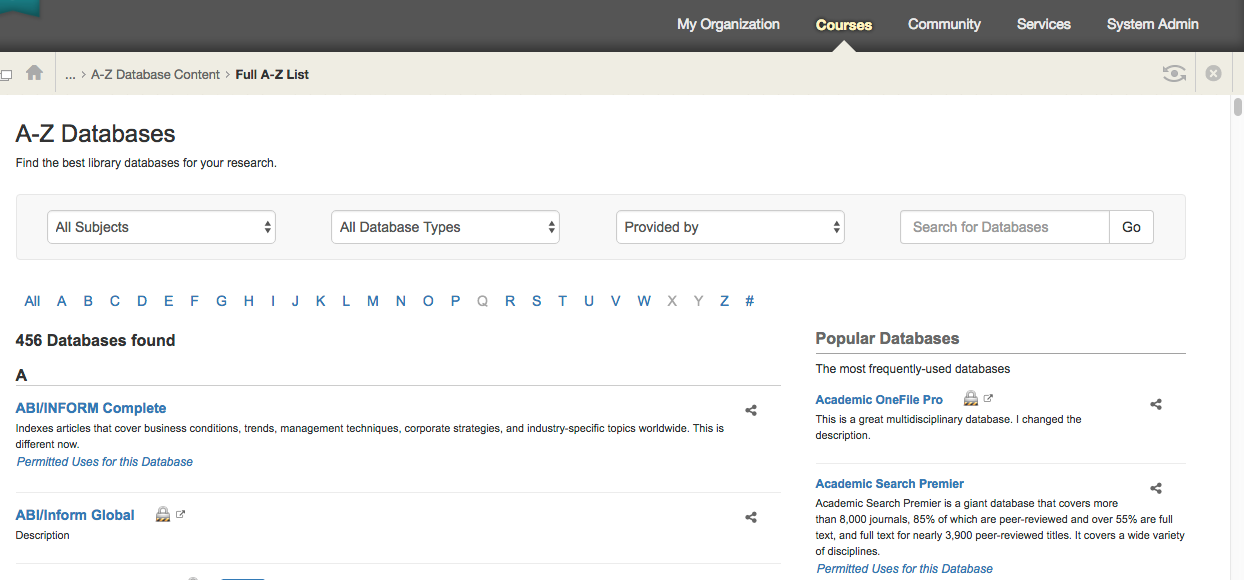 See what an All A-Z Databases display looks like in Blackboard.