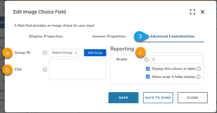 Example of advanced customization options for an image choice field