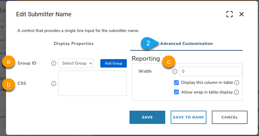 Example of advanced customization options for a name field