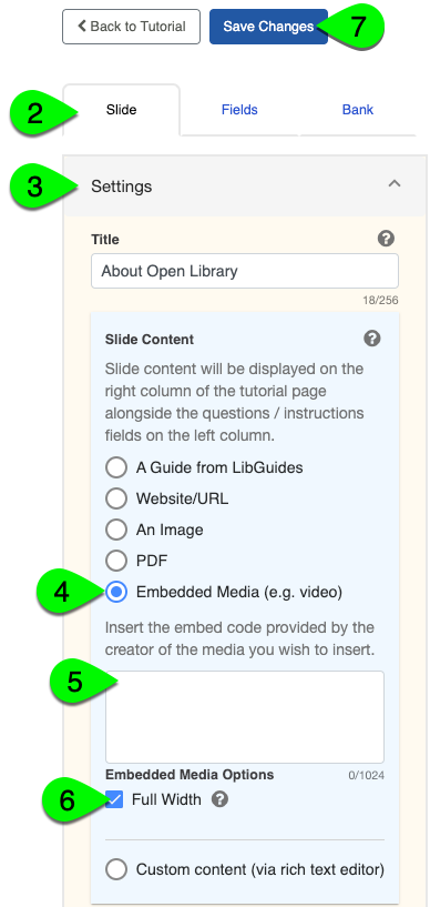 Selecting embedded media in the Slide Content settings