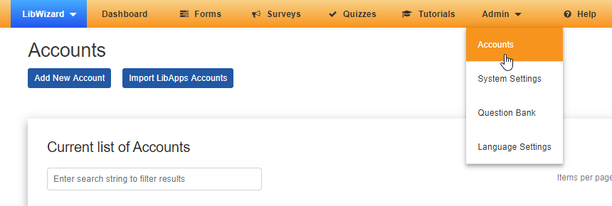 The Accounts option under the Admin menu