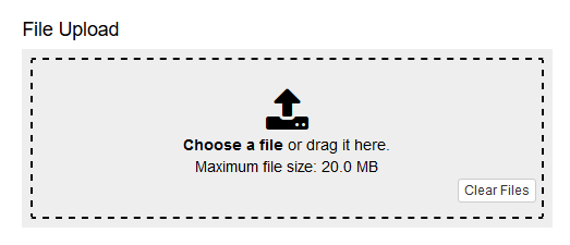 Example of a file upload field