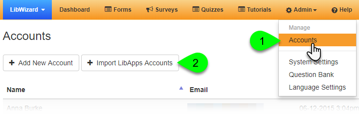Clicking the Import LibApps Accounts button