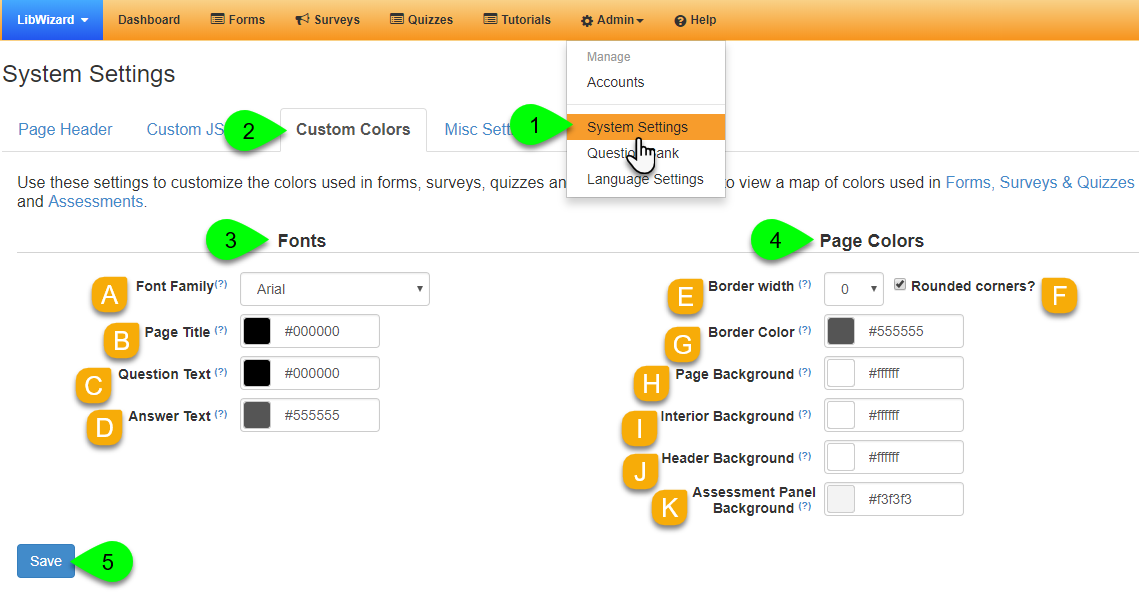 Customizing the page fonts and colors