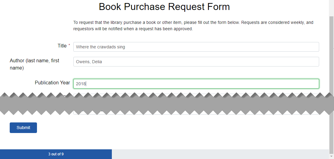 A progress bar at the bottom of a form