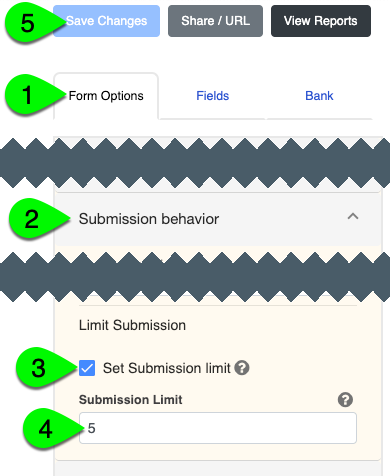The Set Submission Limit checkbox and Submission Limit field