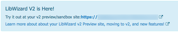 Preview site link shown on the v1 Dashboard.