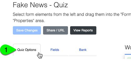 The Quiz Options tab