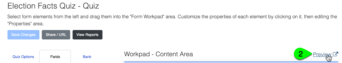 The Preview button above the workpad