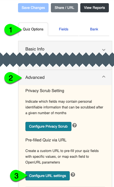 The Configure URL Settings button