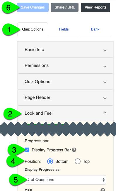 Progress bar options