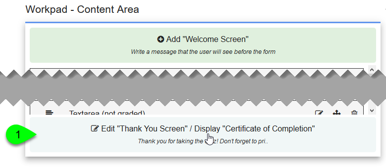 The Thank You Screen section of the workpad
