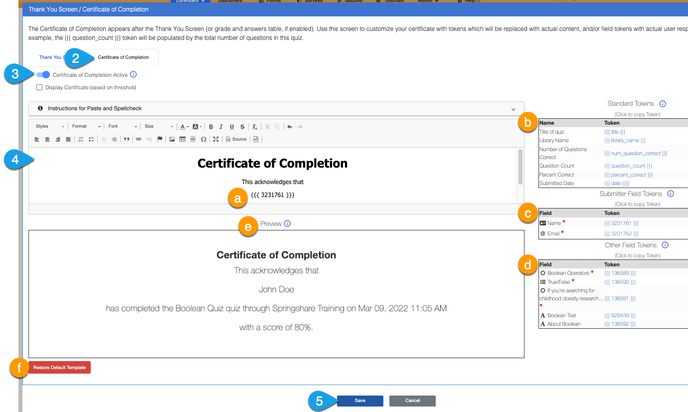 Options under the Certificate of Completion tab