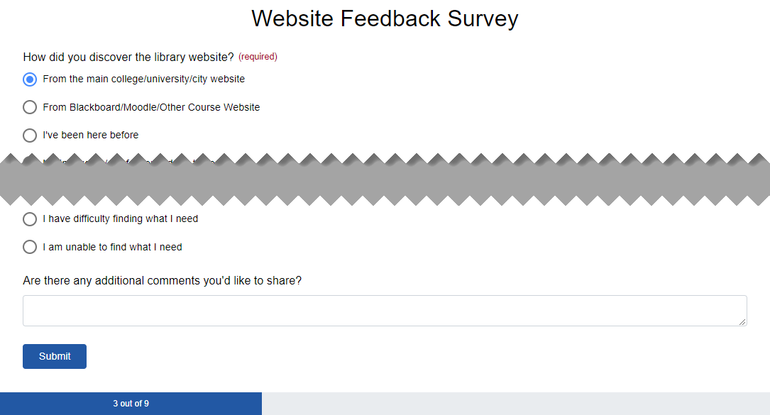 A progress bar at the bottom of a survey
