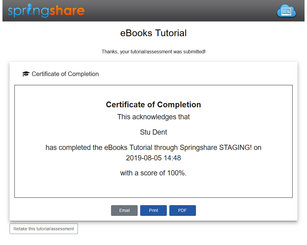 A Thank You page displaying a certificate of completion