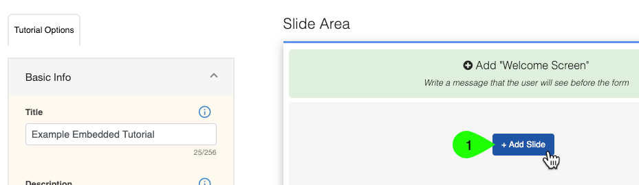 A tutorial's slide area showing the Add Slide button