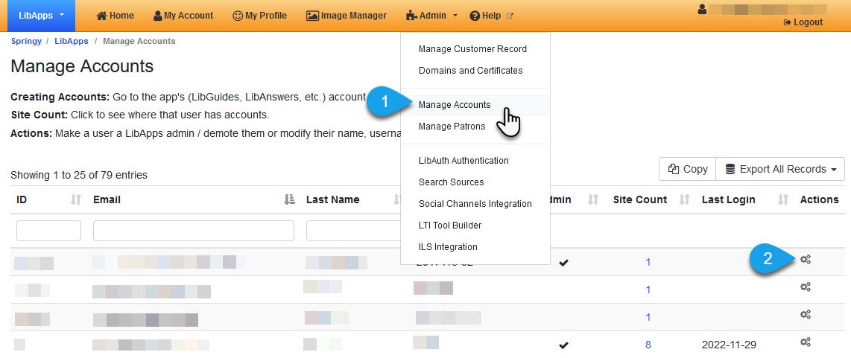 set an account as a LibApps admin, step 1
