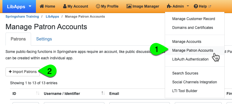 import patron accounts, step 1