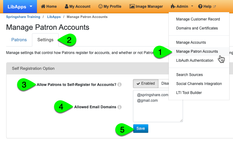 allow patrons to register for accounts