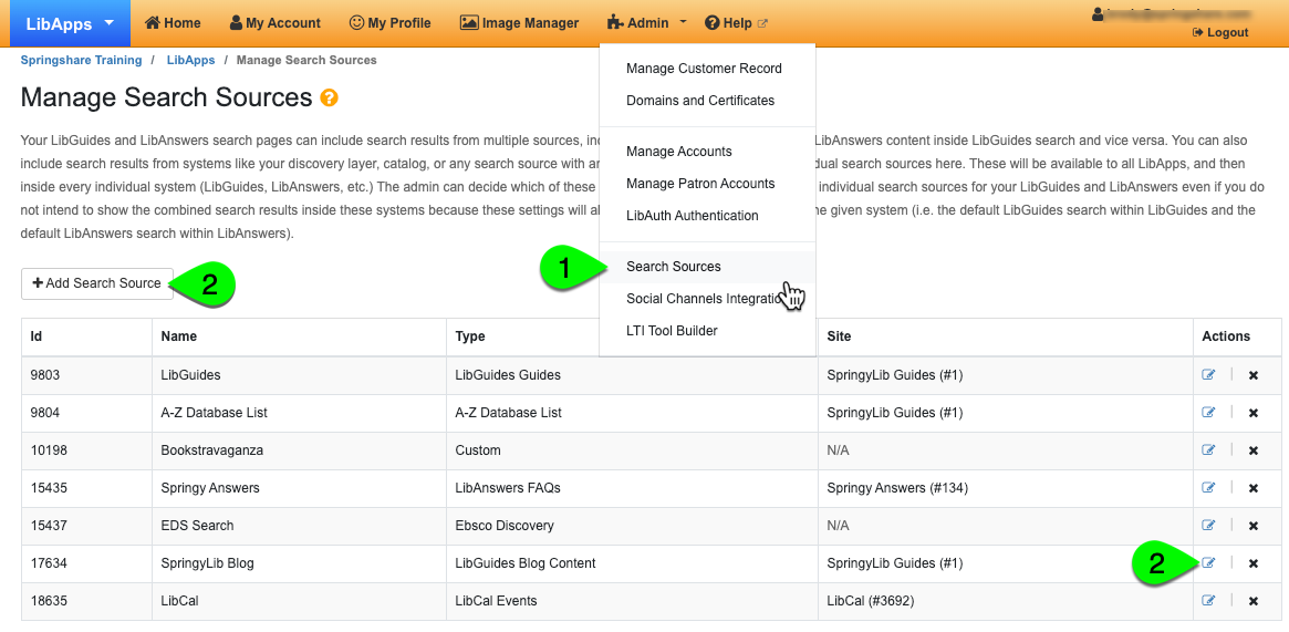 configuring a LibGuides blog search source step 1