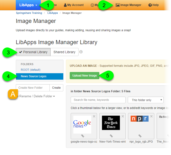 Uploading an image to a personal library