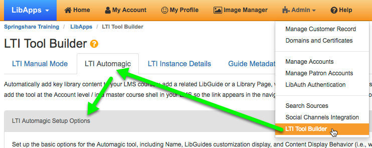 Getting to the LTI Automagic area of LibApps.