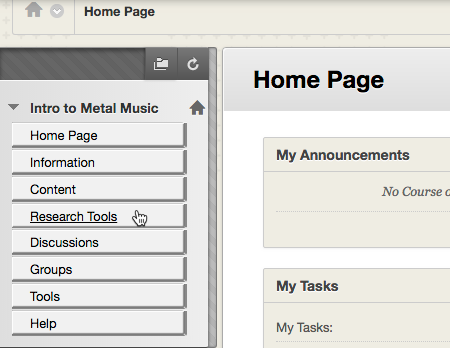 Example of where to find the Automagic tool link in the course navigation.