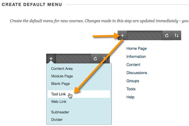 Adding the tool to the default course menu in Blackboard.