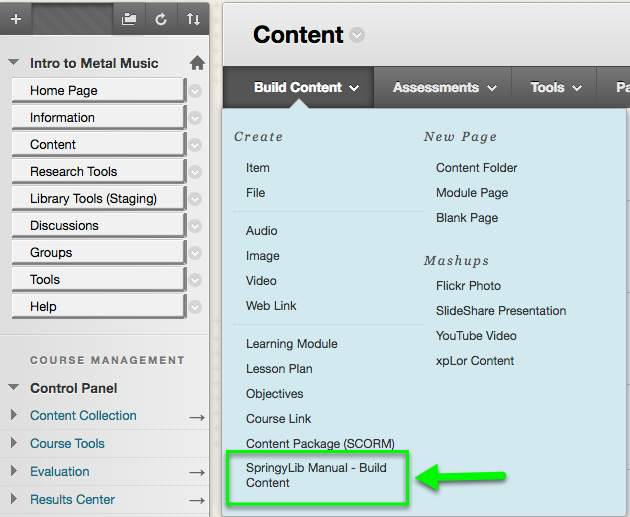 Example of where to find the manual tool link in the Build Content menu.