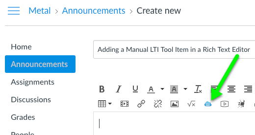 Manual LTI Tool option in the Canvas Rich Text Editor tool menu