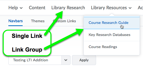 Examples of a single link and link group in the navbar.
