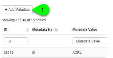 The Add Metadata button