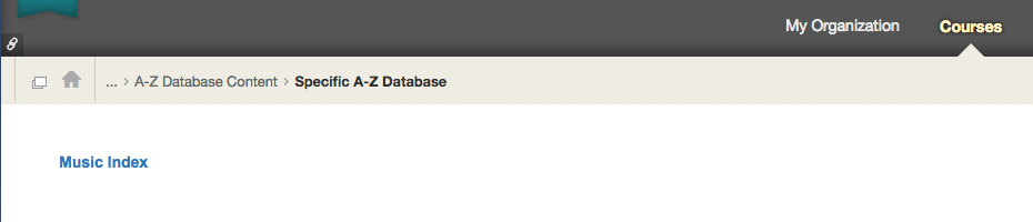 See how the single database option displays in Blackboard.