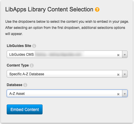 Selection options for embedding a single database.