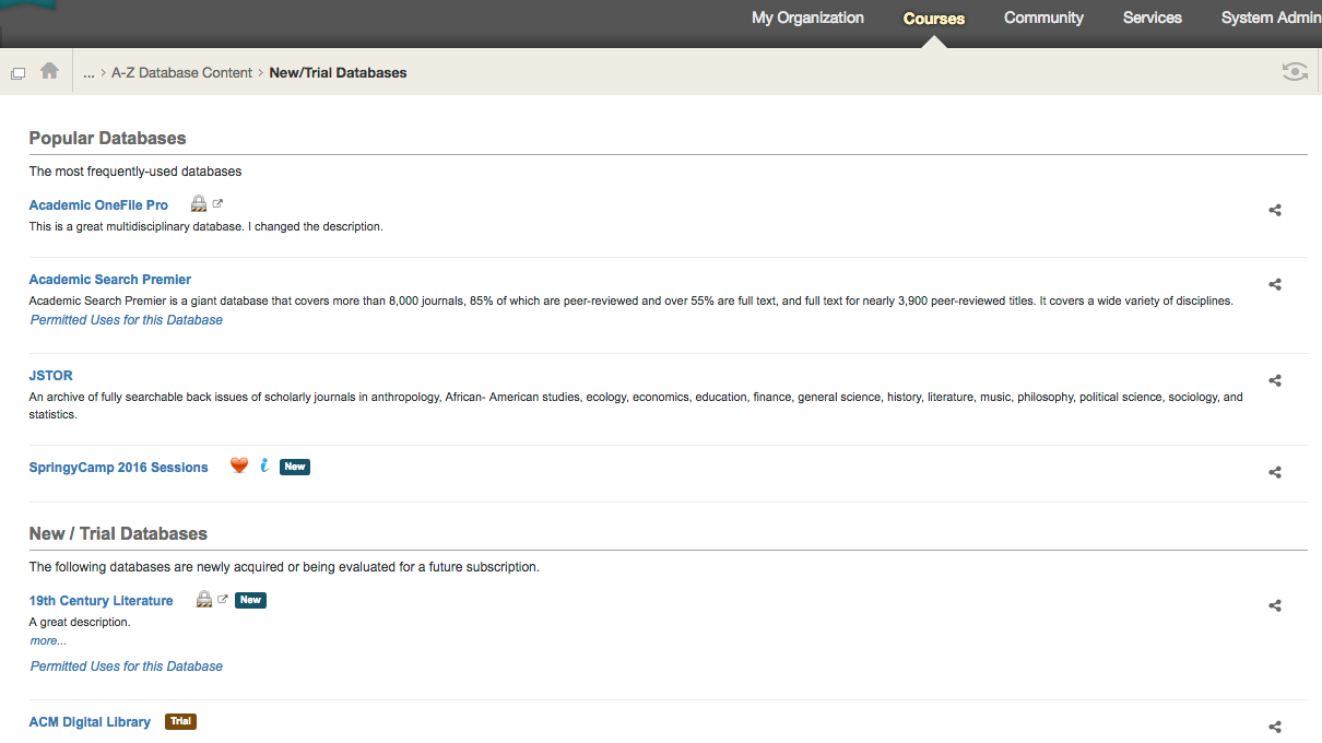 See how the New/Trial box displays in Blackboard.