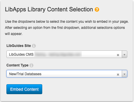 Selection options for embedding the Popular & New/Trial Databases boxes.