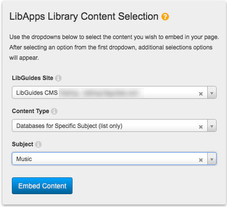 Selection options for embedding a database list limited by subject.